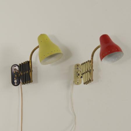 Paar Schaarlampjes in Rood en Geel van H. Busquet voor Hala, 1960s