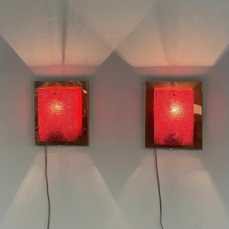 Set Koperen Wandlampen met Rode Kap van Aqua Signal, 1980s