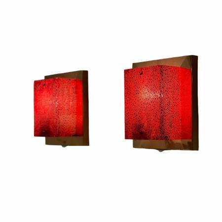 Set Koperen Wandlampen met Rode Kap van Aqua Signal, 1980s | Vintage Design