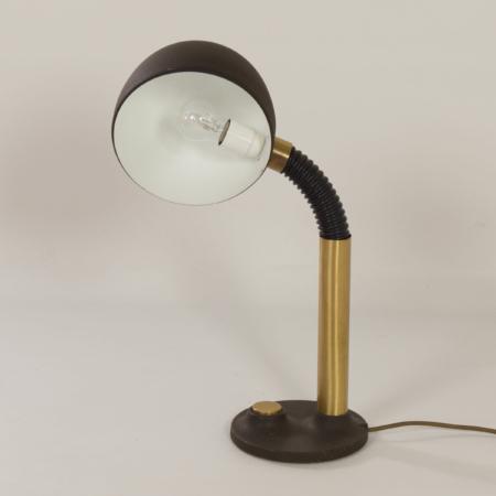 Bureaulamp in Bruin Metaal en Messing van Hillebrand Leuchten, 1970s