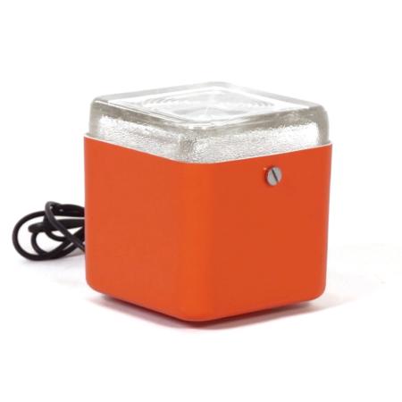 Oranje Kubus Lampje van Lamperti Robbiate, Italië 1970s | Vintage Design