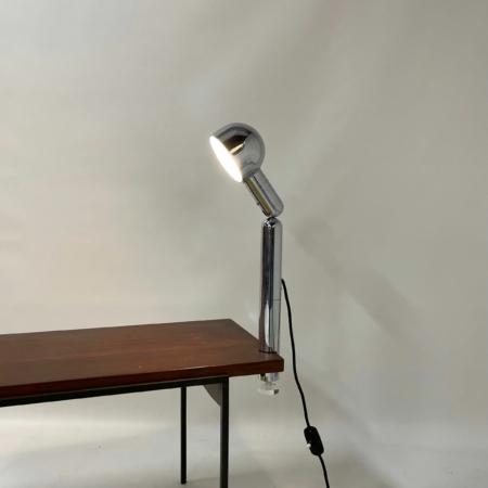 Chromen Space Age Tafellamp met Klemvoet van Cosack, 1970s